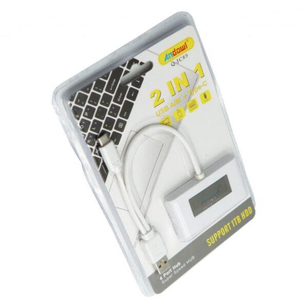 2 ΣΕ 1 USB HUB A/M + TYPE-C ANDOWL AN-Q-JC89