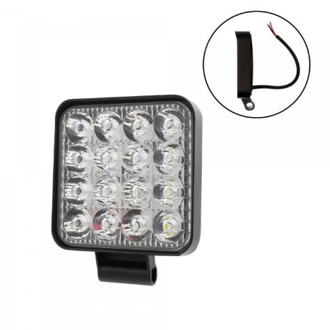 LED mini αδιάβροχος προβολέας κατευθυντικός 8.4 cm 48W 16 SMD 9-36V IP67 4800LM 6500K electronistas.gr