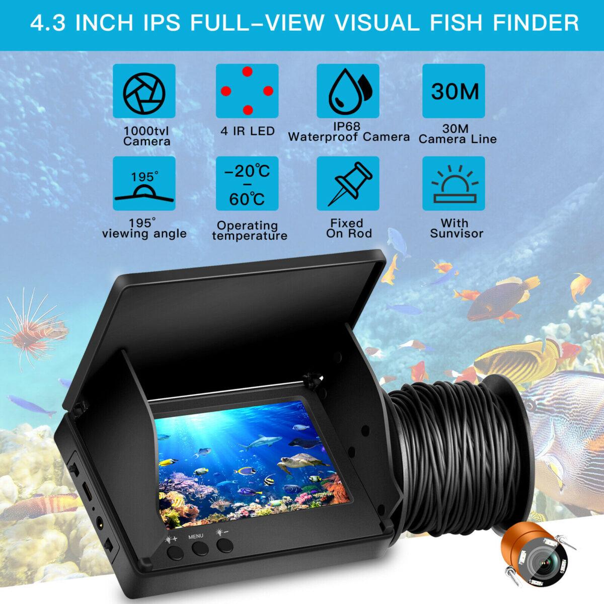"""Ανιχνευτής ψαριών 4.3"""" Οθόνη με Κάμερα για Βάθος ως και 20μ electronistas.gr"""